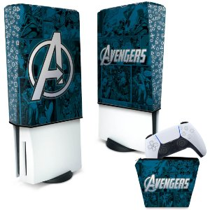 KIT Capa PS5 e Case Controle - Avengers Vingadores Comics