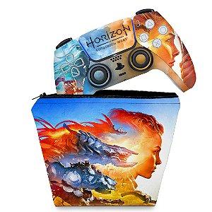 KIT Capa Case e Skin PS5 Controle - Horizon Forbidden West