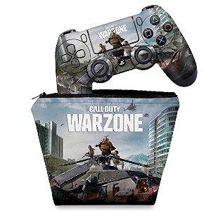 KIT Capa Case e Skin PS4 Controle - Call of Duty Warzone