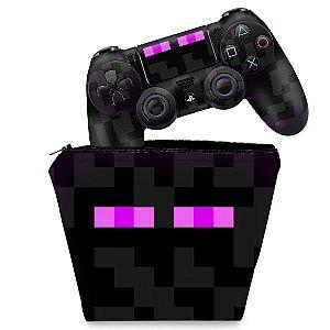 KIT Capa Case e Skin PS4 Controle - Minecraft Enderman