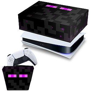 KIT PS5 Capa e Case Controle - Minecraft Enderman