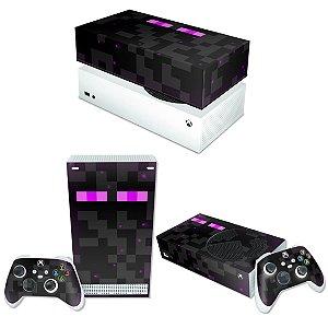 KIT Xbox Series S Skin e Capa Anti Poeira - Minecraft Enderman