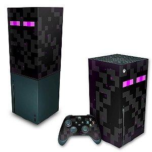 KIT Xbox Series X Skin e Capa Anti Poeira - Minecraft Enderman