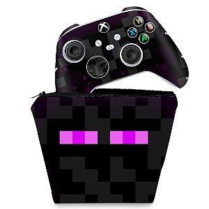 KIT Capa Case e Skin Xbox Series S X Controle - Minecraft Enderman