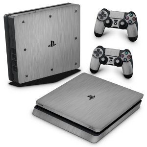 PS4 Slim Skin - Aço Escovado Prateado