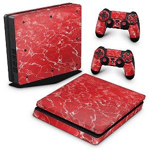 PS4 Slim Skin - Aquático Água Vermelha