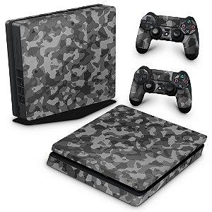 PS4 Slim Skin - Camuflagem Cinza