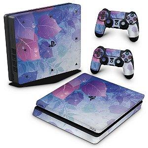 PS4 Slim Skin - Folhas Lilás