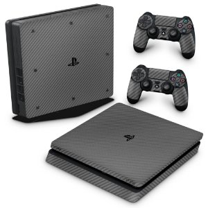 PS4 Slim Skin - Fibra de carbono Cinza Grafite