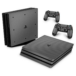 PS4 Pro Skin - Fibra de Carbono Cinza Grafite