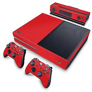 Xbox One Fat Skin - Fibra de Carbono Vermelho