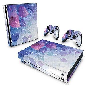 Xbox One X Skin - Folhas Lilás