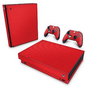 Xbox One X Skin - Fibra de Carbono Vermelho