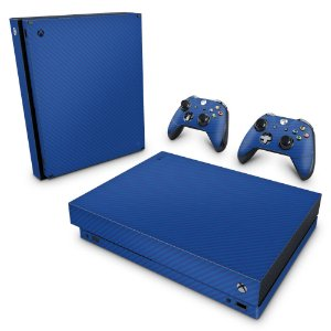 Xbox One X Skin - Fibra de Carbono Azul