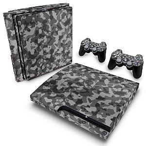 PS3 Slim Skin - Camuflado Cinza