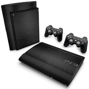PS3 Super Slim Skin - Aço Escovado Preto