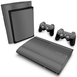 PS3 Super Slim Skin - Fibra de Carbono Cinza Grafite
