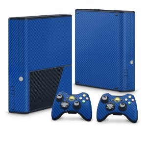 Xbox 360 Super Slim Skin - Fibra de Carbono Azul
