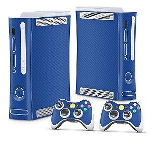 Xbox 360 Fat Skin - Fibra de Carbono Azul