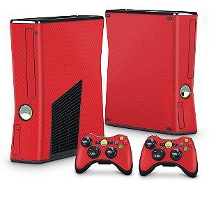 Xbox 360 Slim Skin - Fibra de Carbono Vermelho