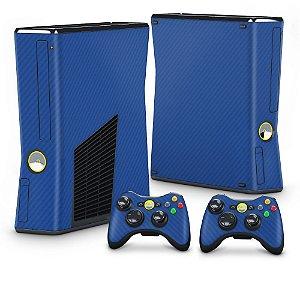 Xbox 360 Slim Skin - Fibra de Carbono Azul