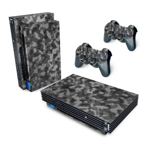 PS2 Fat Skin - Camuflada Cinza