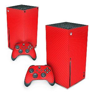 Xbox Series X Skin - Fibra de Carbono Vermelho