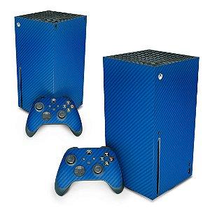 Xbox Series X Skin - Fibra de Carbono Azul