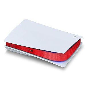 PS5 Central Skin - Fibra de Carbono Vermelha