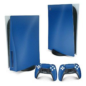 PS5 Skin - Fibra de Carbono Azul
