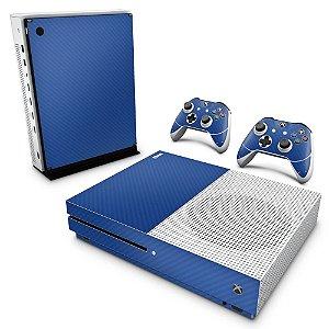 Xbox One Slim Skin - Fibra de Carbono Azul