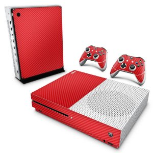 Xbox One Slim Skin - Fibra de Carbono Vermelho