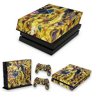 KIT PS4 Fat Skin e Capa Anti Poeira - Cavaleiros Do Zodiaco