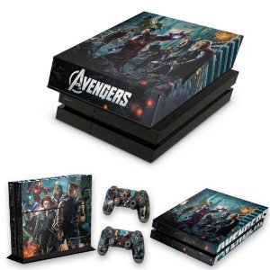 KIT PS4 Fat Skin e Capa Anti Poeira - The Avengers - Os Vingadores