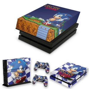KIT PS4 Fat Skin e Capa Anti Poeira - Sonic The Hedgehog