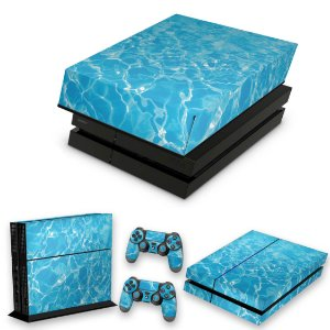KIT PS4 Fat Skin e Capa Anti Poeira - Aquático Água