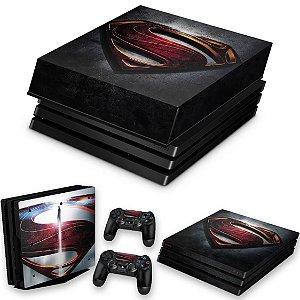 KIT PS4 Pro Skin e Capa Anti Poeira - Superman - Super Homem