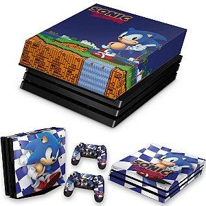KIT PS4 Pro Skin e Capa Anti Poeira - Sonic The Hedgehog