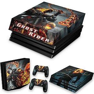KIT PS4 Pro Skin e Capa Anti Poeira - Ghost Rider #B