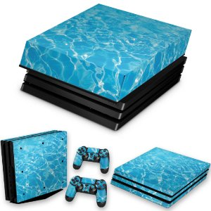 KIT PS4 Pro Skin e Capa Anti Poeira - Aquático Água