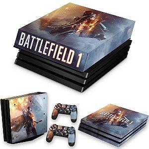 KIT PS4 Pro Skin e Capa Anti Poeira - Battlefield 1