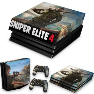 KIT PS4 Pro Skin e Capa Anti Poeira - Sniper Elite 4