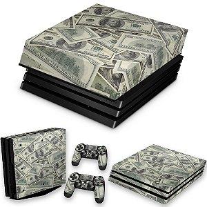 KIT PS4 Pro Skin e Capa Anti Poeira - Dollar Money Dinheiro