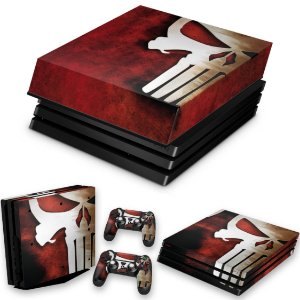 KIT PS4 Pro Skin e Capa Anti Poeira - The Punisher Justiceiro