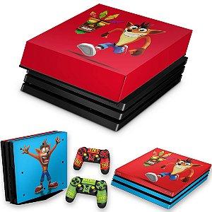 KIT PS4 Pro Skin e Capa Anti Poeira - Crash Bandicoot