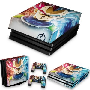 KIT PS4 Pro Skin e Capa Anti Poeira - Dragon Ball Super Vegeta Ssj God