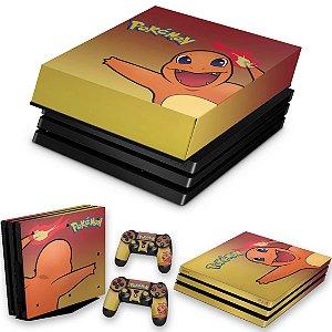 KIT PS4 Pro Skin e Capa Anti Poeira - Pokemon Charmander