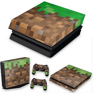 KIT PS4 Slim Skin e Capa Anti Poeira - Minecraft
