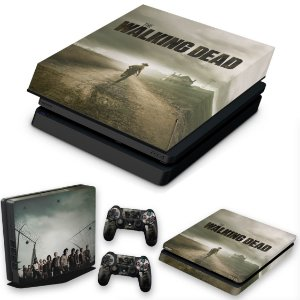 KIT PS4 Slim Skin e Capa Anti Poeira - The Walking Dead