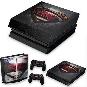 KIT PS4 Slim Skin e Capa Anti Poeira - Superman - Super Homem
